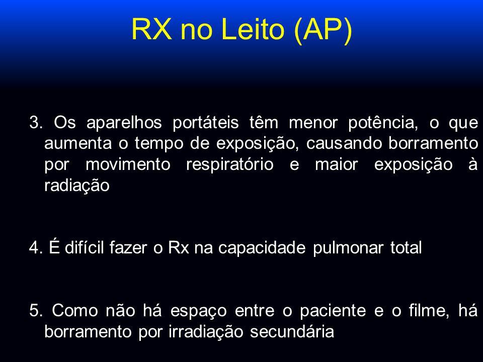RX no Leito (AP) 3. Os aparelhos portáteis têm menor potência, o que aumenta o tempo de exposição, causando borramento por movimento respiratório e ma