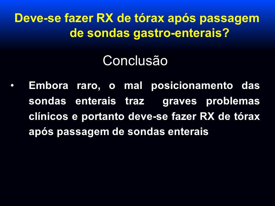 Deve-se fazer RX de tórax após passagem de sondas gastro-enterais? Conclusão Embora raro, o mal posicionamento das sondas enterais traz graves problem
