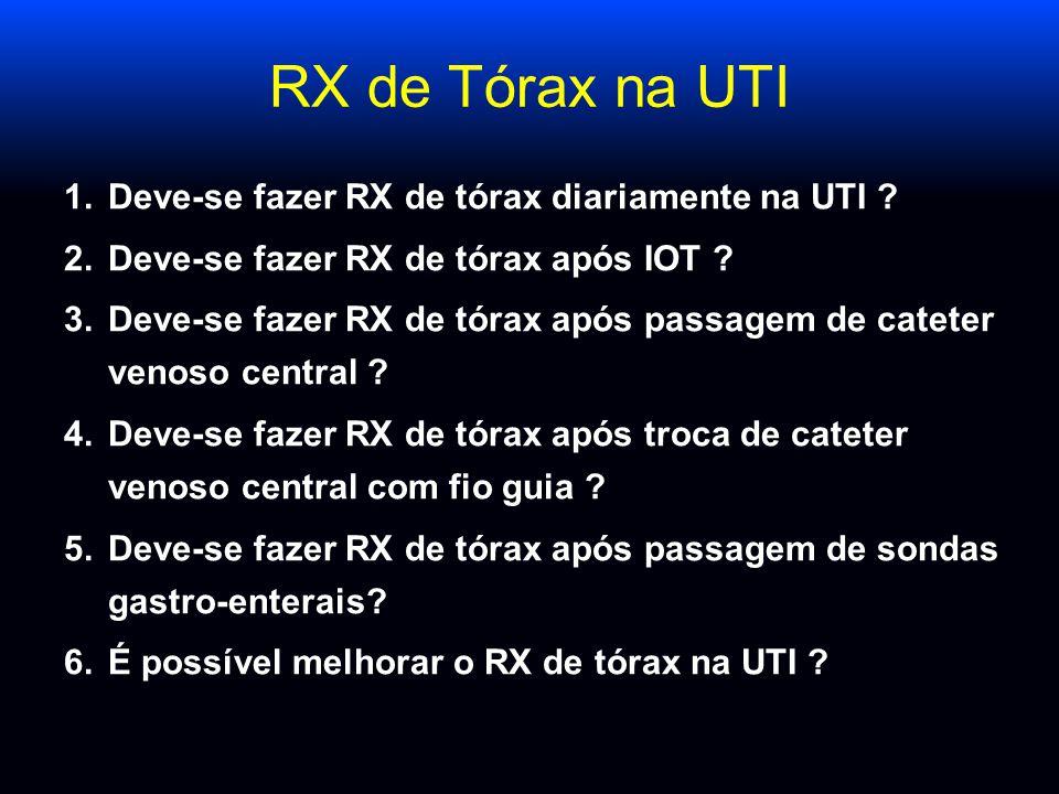 RX de Tórax na UTI 1.Deve-se fazer RX de tórax diariamente na UTI ? 2.Deve-se fazer RX de tórax após IOT ? 3.Deve-se fazer RX de tórax após passagem d