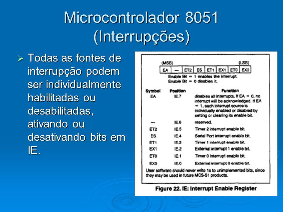 Microcontrolador 8051 (Interrupções)  Todas as fontes de interrupção podem ser individualmente habilitadas ou desabilitadas, ativando ou desativando