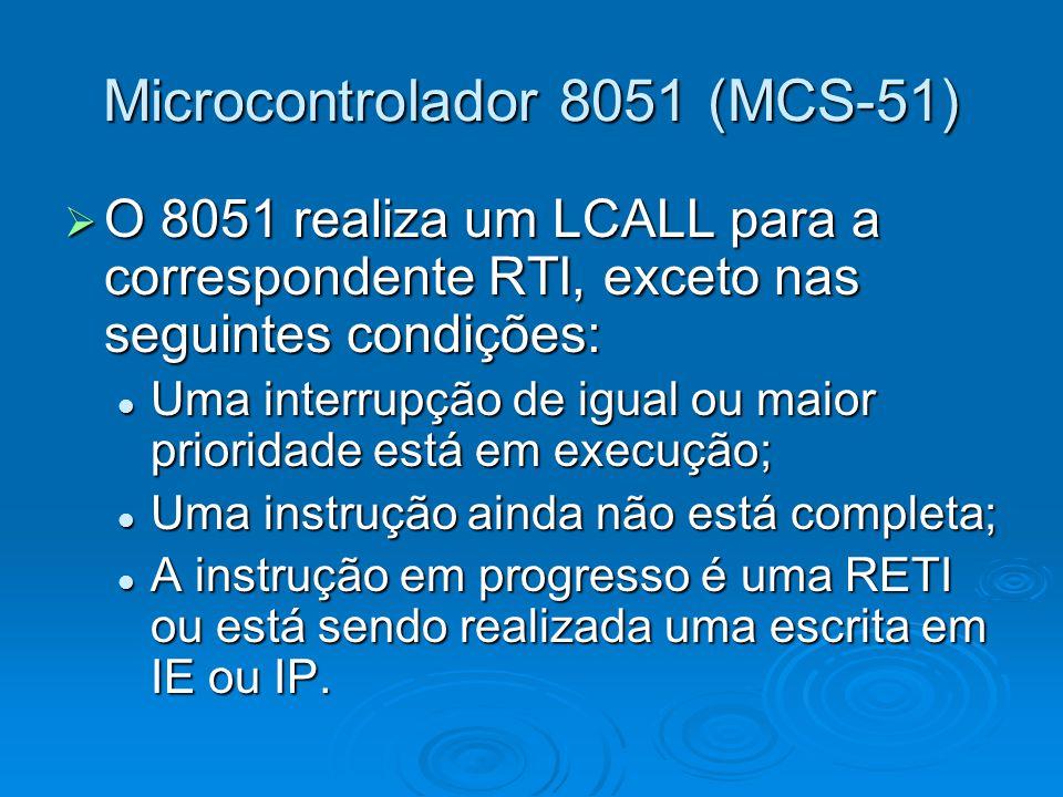 Microcontrolador 8051 (MCS-51)  O 8051 realiza um LCALL para a correspondente RTI, exceto nas seguintes condições: Uma interrupção de igual ou maior