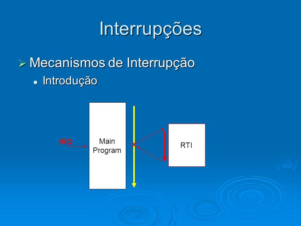 Interrupções  Mecanismos de Interrupção RTI (recomendações) RTI (recomendações) Rápida;Rápida; Pequena;Pequena; Salvar contexto;Salvar contexto; Para algoritmos complexos, utilizar máquinas de estado (Finite State Machine).Para algoritmos complexos, utilizar máquinas de estado (Finite State Machine).