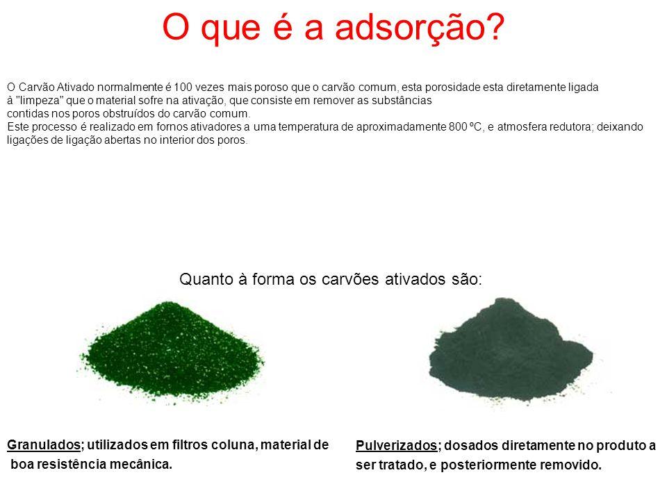 Quanto à forma os carvões ativados são: Granulados; utilizados em filtros coluna, material de boa resistência mecânica. Pulverizados; dosados diretame