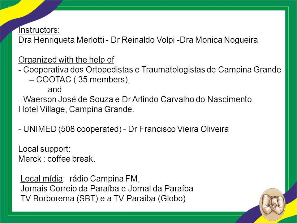 Instructors: Dra Henriqueta Merlotti - Dr Reinaldo Volpi -Dra Monica Nogueira Organized with the help of - Cooperativa dos Ortopedistas e Traumatologi