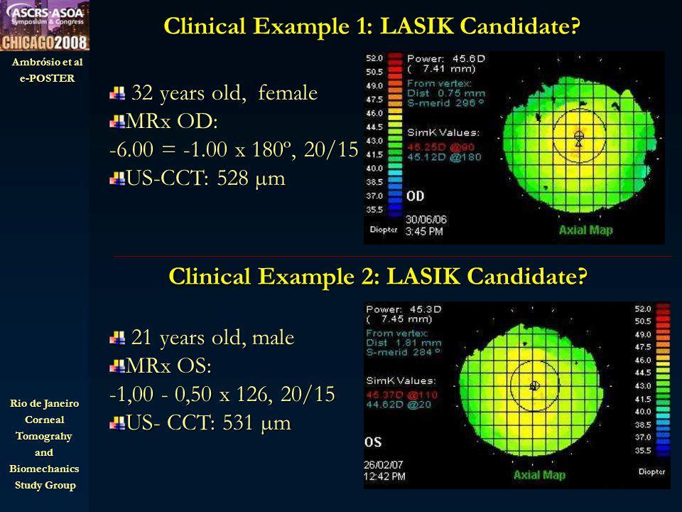 Ambrósio et al e-POSTER Rio de Janeiro CornealTomograhyandBiomechanics Study Group Study Group Clinical Example 1: LASIK Candidate.