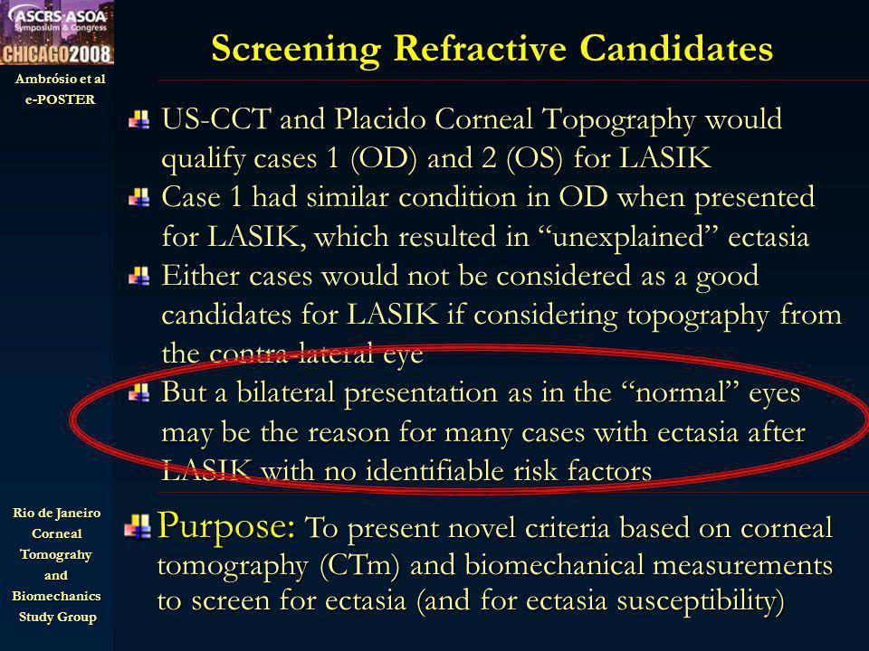 Ambrósio et al e-POSTER Rio de Janeiro CornealTomograhyandBiomechanics Study Group Study Group Ectasia Susceptibility: Conreal Tomography and Biomechanics Example 1: unexplained ectasia after LASIK OS Example 2: unilateral keratoconus OD CTSP and PIT: Abnormal S shape CTSP and PIT: Abnormal S shape CRF: 8.1 mmHg CRF: 8.1 mmHg CTSP and PIT: Tangent to 95% CI CTSP and PIT: Tangent to 95% CI Ave PI=1.2 Ave PI=1.2 CRF: 7.1 mmHg CRF: 7.1 mmHg