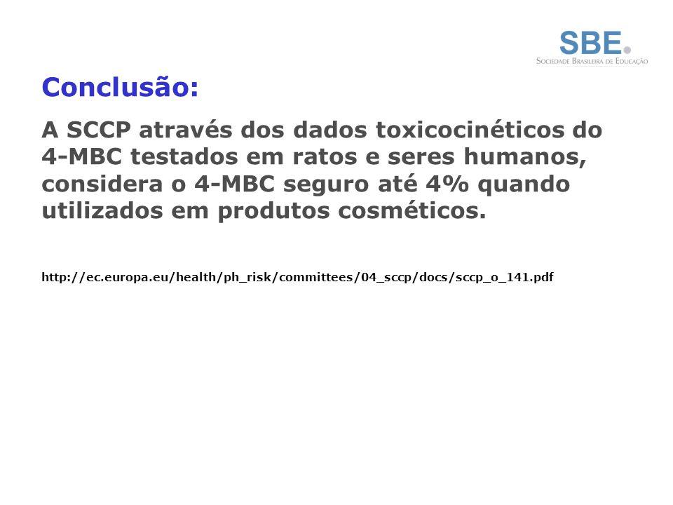 Conclusão: A SCCP através dos dados toxicocinéticos do 4-MBC testados em ratos e seres humanos, considera o 4-MBC seguro até 4% quando utilizados em produtos cosméticos.