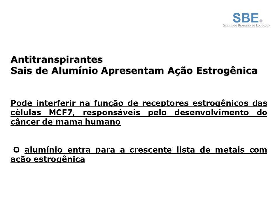 Antitranspirantes Sais de Alumínio Apresentam Ação Estrogênica Pode interferir na função de receptores estrogênicos das células MCF7, responsáveis pelo desenvolvimento do câncer de mama humano O alumínio entra para a crescente lista de metais com ação estrogênica