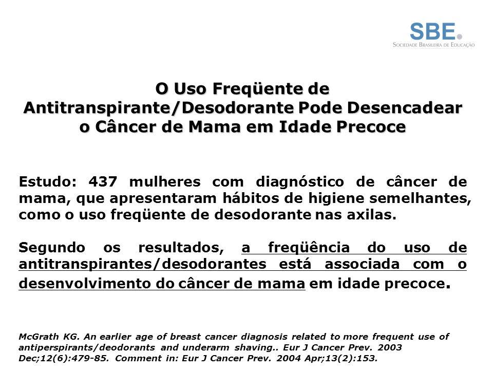 O Uso Freqüente de Antitranspirante/Desodorante Pode Desencadear o Câncer de Mama em Idade Precoce Estudo: 437 mulheres com diagnóstico de câncer de mama, que apresentaram hábitos de higiene semelhantes, como o uso freqüente de desodorante nas axilas.