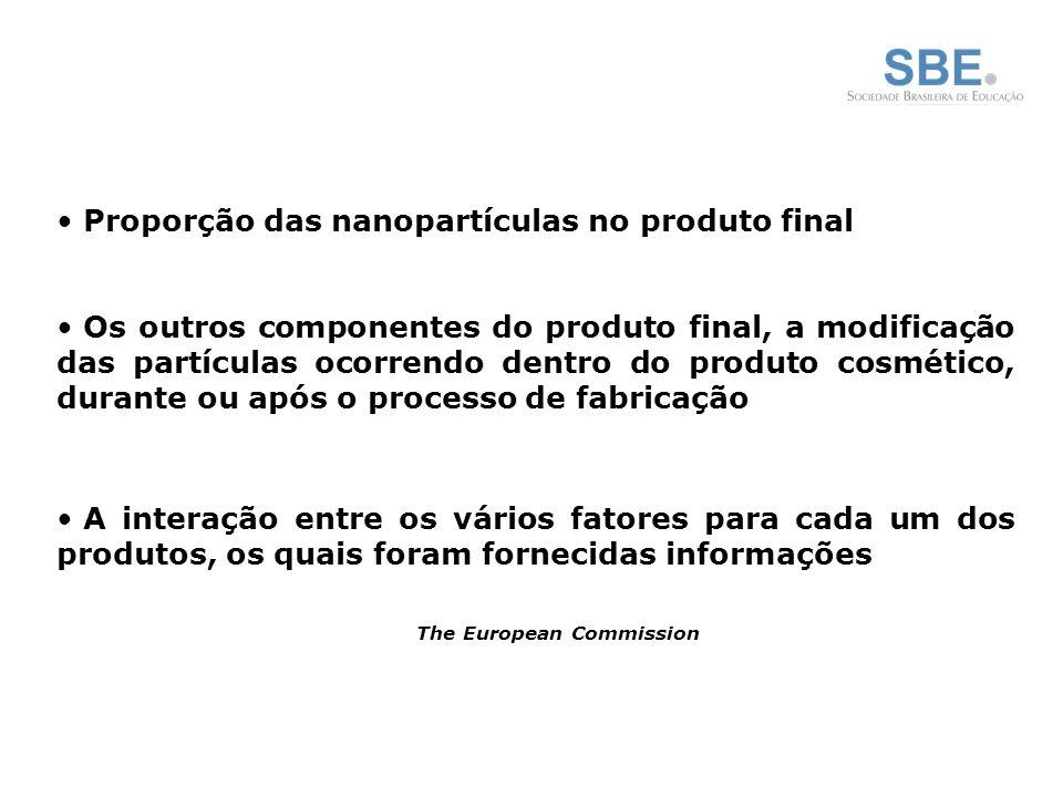 Proporção das nanopartículas no produto final Os outros componentes do produto final, a modificação das partículas ocorrendo dentro do produto cosmético, durante ou após o processo de fabricação A interação entre os vários fatores para cada um dos produtos, os quais foram fornecidas informações The European Commission