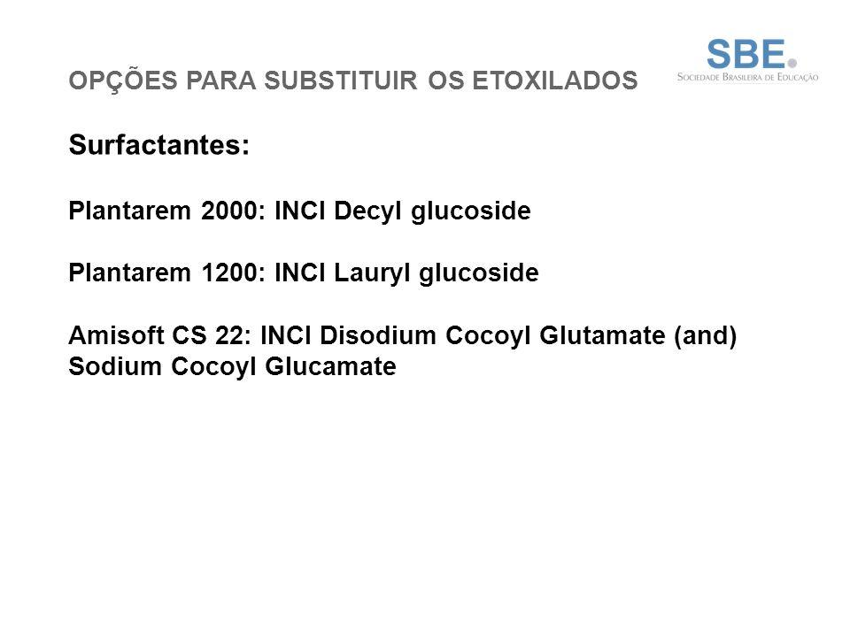 OPÇÕES PARA SUBSTITUIR OS ETOXILADOS Surfactantes: Plantarem 2000: INCI Decyl glucoside Plantarem 1200: INCI Lauryl glucoside Amisoft CS 22: INCI Disodium Cocoyl Glutamate (and) Sodium Cocoyl Glucamate