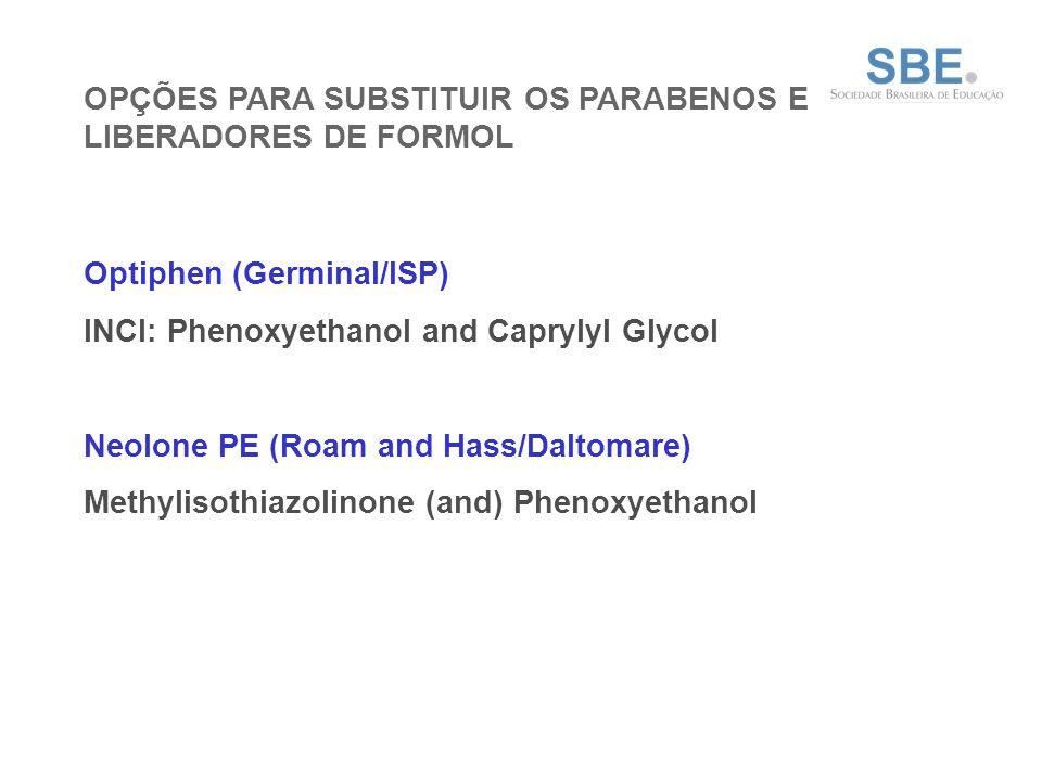 OPÇÕES PARA SUBSTITUIR OS PARABENOS E LIBERADORES DE FORMOL Optiphen (Germinal/ISP) INCI: Phenoxyethanol and Caprylyl Glycol Neolone PE (Roam and Hass/Daltomare) Methylisothiazolinone (and) Phenoxyethanol