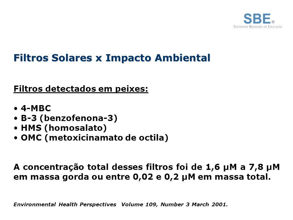 Filtros detectados em peixes: 4-MBC B-3 (benzofenona-3) HMS (homosalato) OMC (metoxicinamato de octila) A concentração total desses filtros foi de 1,6 µM a 7,8 µM em massa gorda ou entre 0,02 e 0,2 µM em massa total.