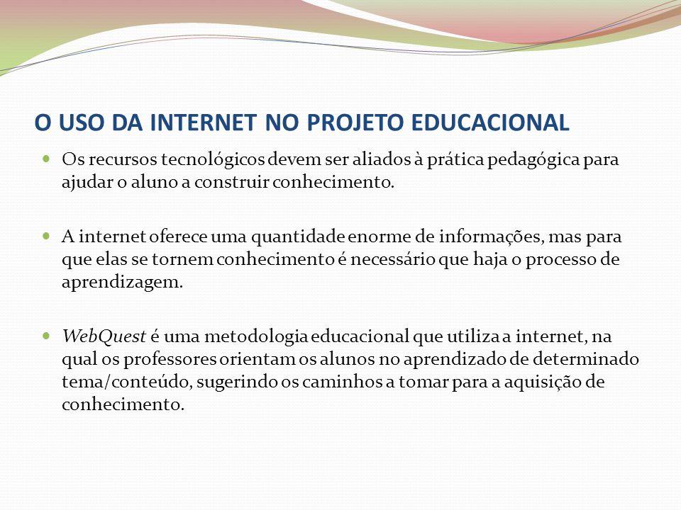 O USO DA INTERNET NO PROJETO EDUCACIONAL Os recursos tecnológicos devem ser aliados à prática pedagógica para ajudar o aluno a construir conhecimento.