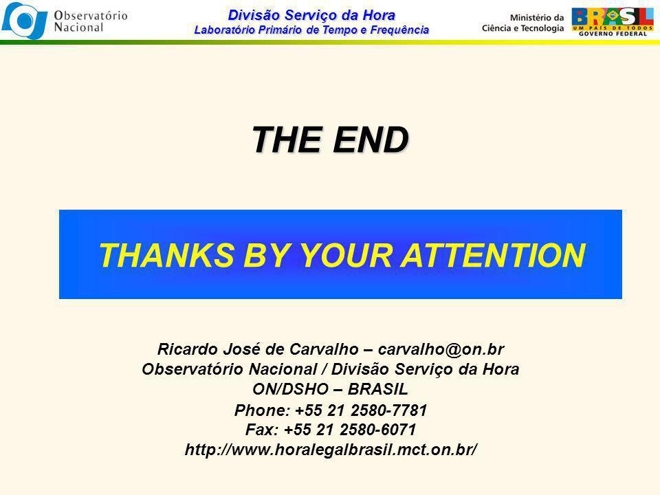 Divisão Serviço da Hora Laboratório Primário de Tempo e Frequência THE END Ricardo José de Carvalho – carvalho@on.br Observatório Nacional / Divisão Serviço da Hora ON/DSHO – BRASIL Phone: +55 21 2580-7781 Fax: +55 21 2580-6071 http://www.horalegalbrasil.mct.on.br/ THANKS BY YOUR ATTENTION