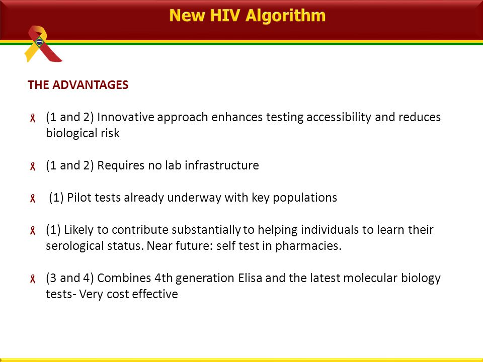 THE ADVANTAGES  (1 and 2) Innovative approach enhances testing accessibility and reduces biological risk  (1 and 2) Requires no lab infrastructure  (1) Pilot tests already underway with key populations  (1) Likely to contribute substantially to helping individuals to learn their serological status.