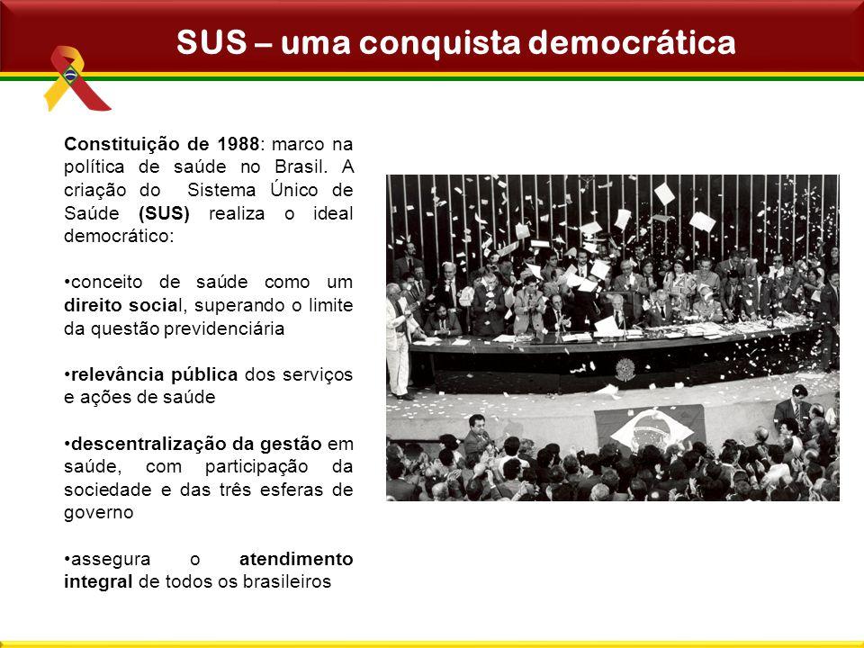 Constituição de 1988: marco na política de saúde no Brasil. A criação do Sistema Único de Saúde (SUS) realiza o ideal democrático: conceito de saúde c