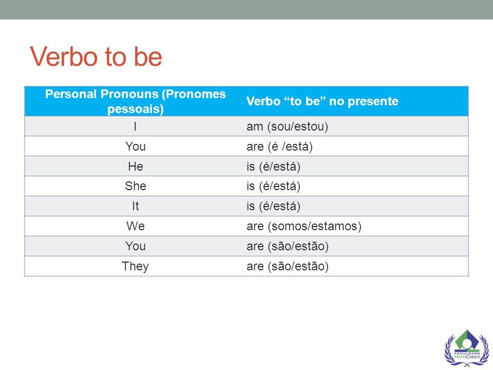 """Verbo to be Personal Pronouns (Pronomes pessoais) Verbo """"to be"""" no presente Iam (sou/estou) Youare (é /está) Heis (é/está) Sheis (é/está) Itis (é/está"""