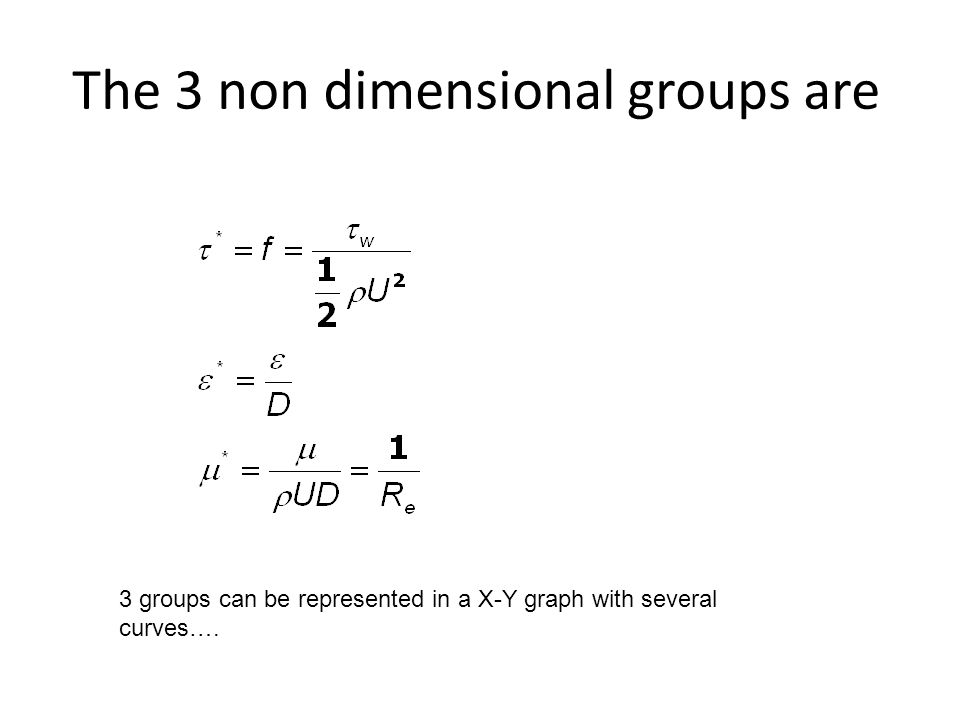 The 3 non dimensional groups are 3 groups can be represented in a X-Y graph with several curves….