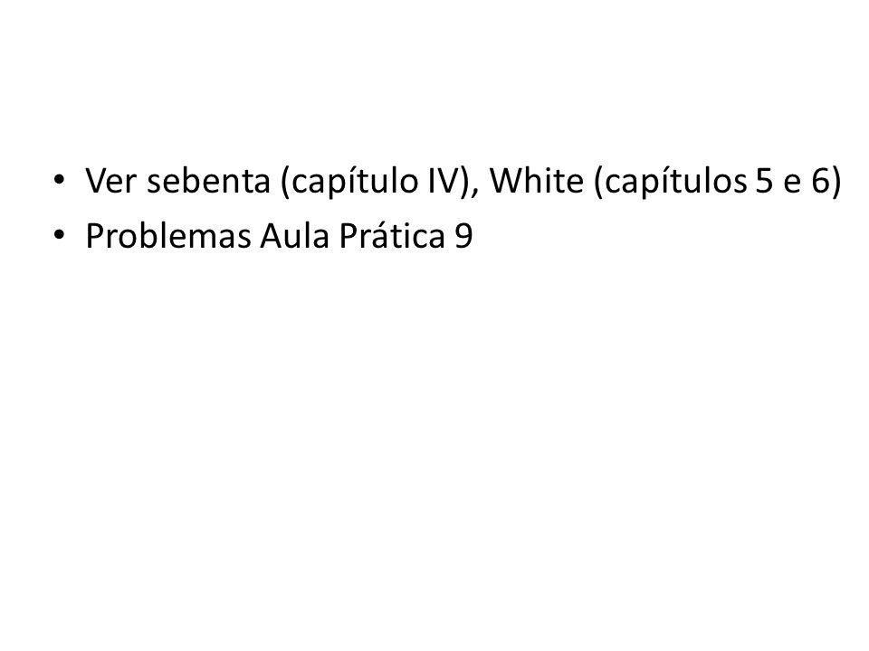 Ver sebenta (capítulo IV), White (capítulos 5 e 6) Problemas Aula Prática 9