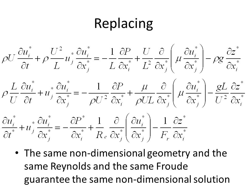 Replacing The same non-dimensional geometry and the same Reynolds and the same Froude guarantee the same non-dimensional solution