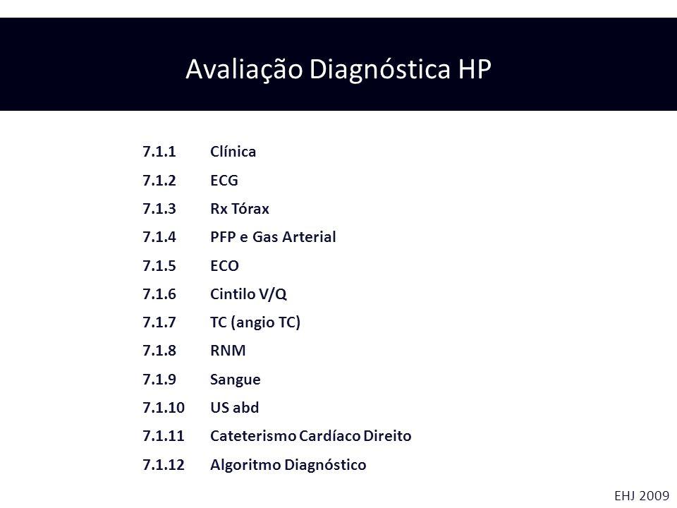 EHJ 2009 7.1.1 Clínica 7.1.2 ECG 7.1.3 Rx Tórax 7.1.4 PFP e Gas Arterial 7.1.5 ECO 7.1.6 Cintilo V/Q 7.1.7 TC (angio TC) 7.1.8 RNM 7.1.9 Sangue 7.1.10