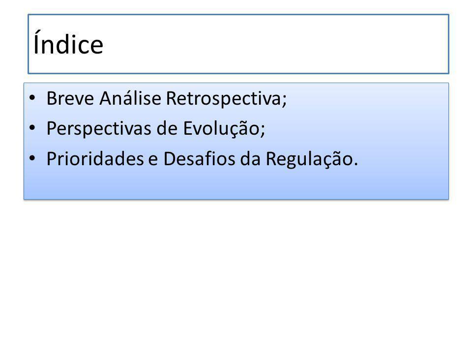 Índice Breve Análise Retrospectiva; Perspectivas de Evolução; Prioridades e Desafios da Regulação.