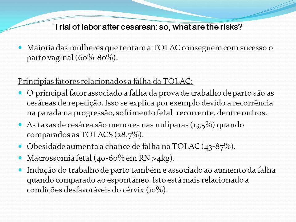 Trial of labor after cesarean: so, what are the risks? Maioria das mulheres que tentam a TOLAC conseguem com sucesso o parto vaginal (60%-80%). Princi
