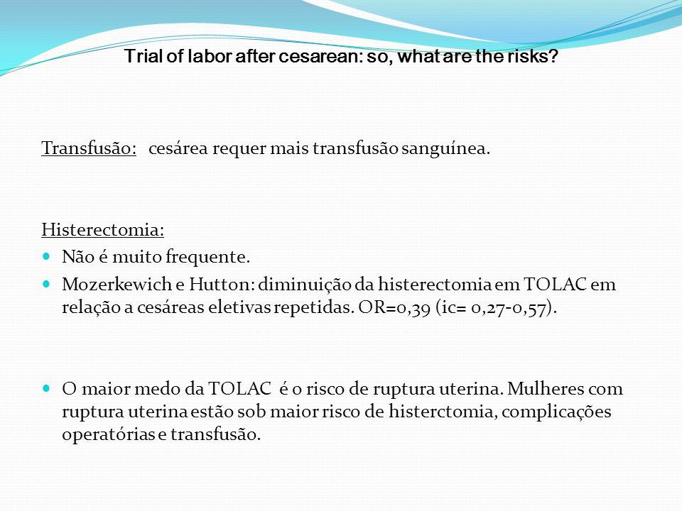 Trial of labor after cesarean: so, what are the risks? Transfusão: cesárea requer mais transfusão sanguínea. Histerectomia: Não é muito frequente. Moz