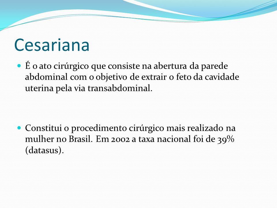 Cesariana É o ato cirúrgico que consiste na abertura da parede abdominal com o objetivo de extrair o feto da cavidade uterina pela via transabdominal.