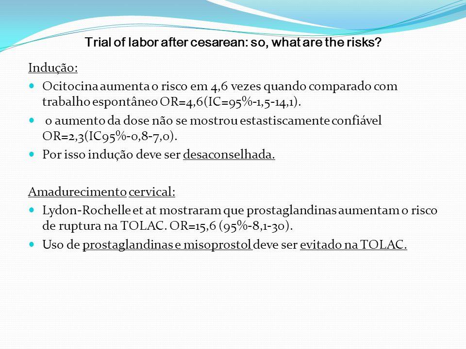 Trial of labor after cesarean: so, what are the risks? Indução: Ocitocina aumenta o risco em 4,6 vezes quando comparado com trabalho espontâneo OR=4,6