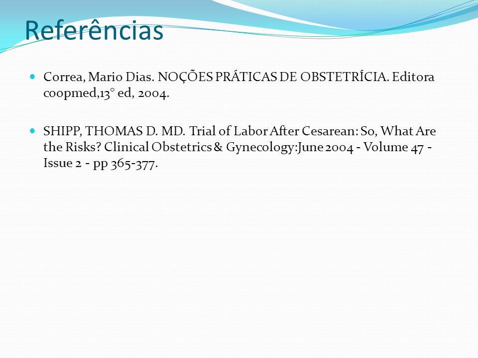 Referências Correa, Mario Dias. NOÇÕES PRÁTICAS DE OBSTETRÍCIA. Editora coopmed,13° ed, 2004. SHIPP, THOMAS D. MD. Trial of Labor After Cesarean: So,