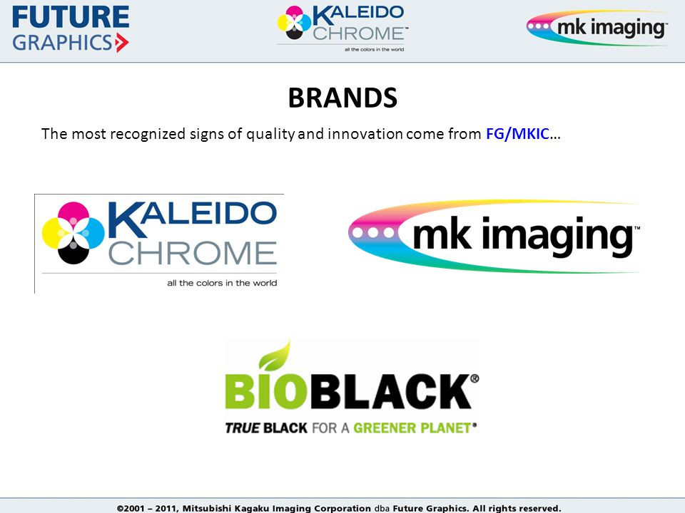 The most recognized signs of quality and innovation come from FG/MKIC… BRANDS