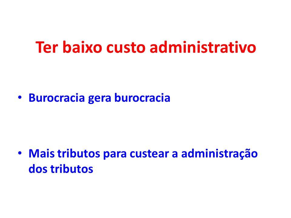 Ter baixo custo administrativo Burocracia gera burocracia Mais tributos para custear a administração dos tributos