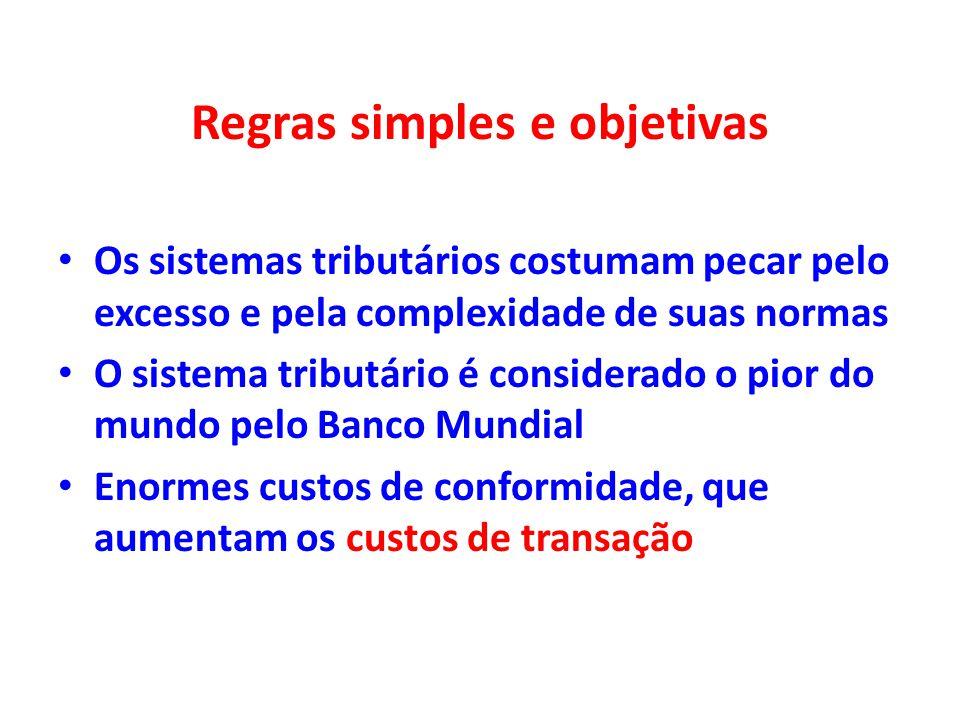 Regras simples e objetivas Os sistemas tributários costumam pecar pelo excesso e pela complexidade de suas normas O sistema tributário é considerado o