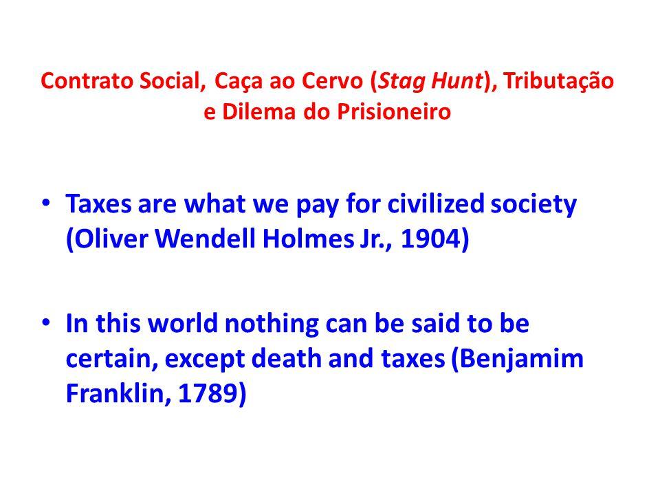 Contrato Social, Caça ao Cervo (Stag Hunt), Tributação e Dilema do Prisioneiro Taxes are what we pay for civilized society (Oliver Wendell Holmes Jr.,