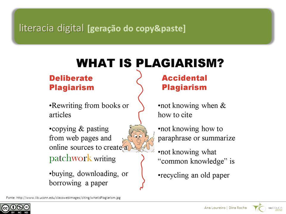 literacia digital literacia digital [geração do copy&paste] Ana Loureiro | Dina Rocha Fonte: http://www.lib.uconn.edu/classwebimages/citing/whatisPlag