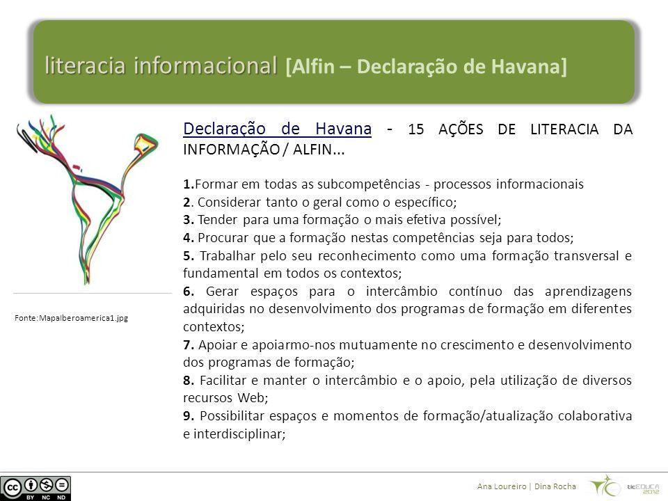 literacia informacional literacia informacional [Alfin – Declaração de Havana] Declaração de HavanaDeclaração de Havana - 15 AÇÕES DE LITERACIA DA INFORMAÇÃO / ALFIN...