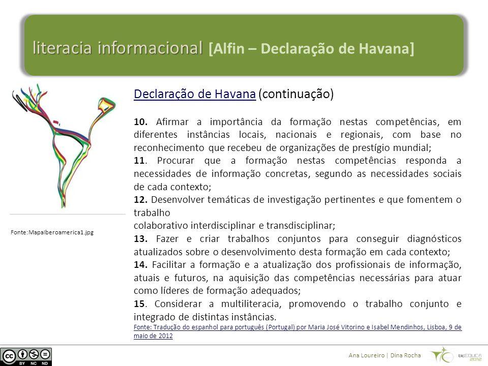 literacia informacional literacia informacional [Alfin – Declaração de Havana] Declaração de HavanaDeclaração de Havana (continuação) 10.