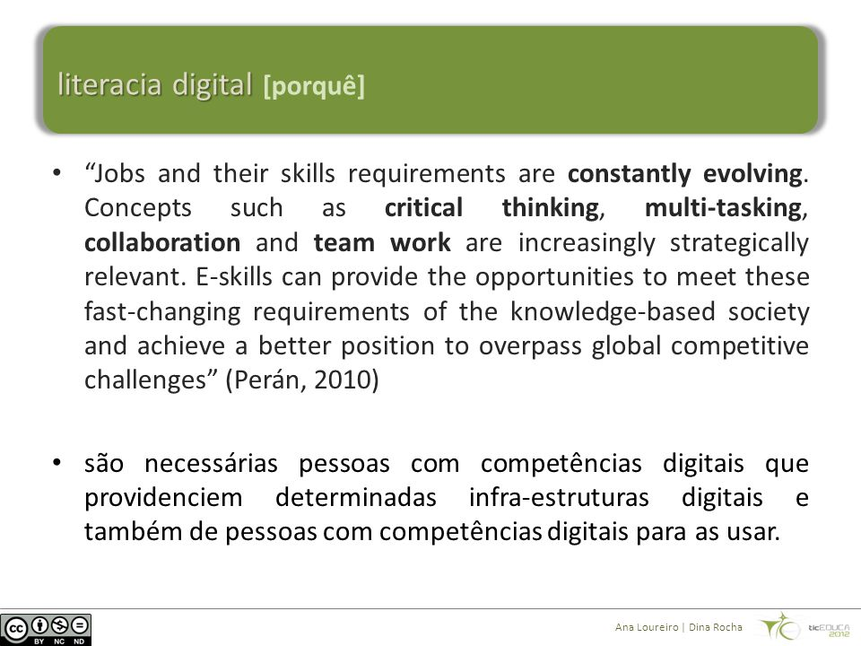 literacia digital literacia digital [porquê] Ana Loureiro | Dina Rocha Digitally Literate Knowledge- based Society