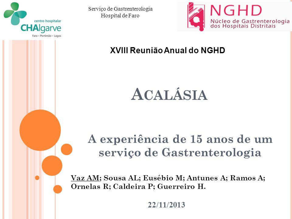 A CALÁSIA A experiência de 15 anos de um serviço de Gastrenterologia Serviço de Gastrenterologia Hospital de Faro 22/11/2013 XVIII Reunião Anual do NG