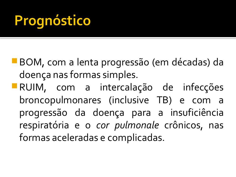  BOM, com a lenta progressão (em décadas) da doença nas formas simples.  RUIM, com a intercalação de infecções broncopulmonares (inclusive TB) e com