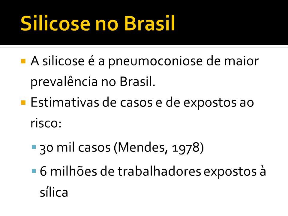  A silicose é a pneumoconiose de maior prevalência no Brasil.  Estimativas de casos e de expostos ao risco:  30 mil casos (Mendes, 1978)  6 milhõe