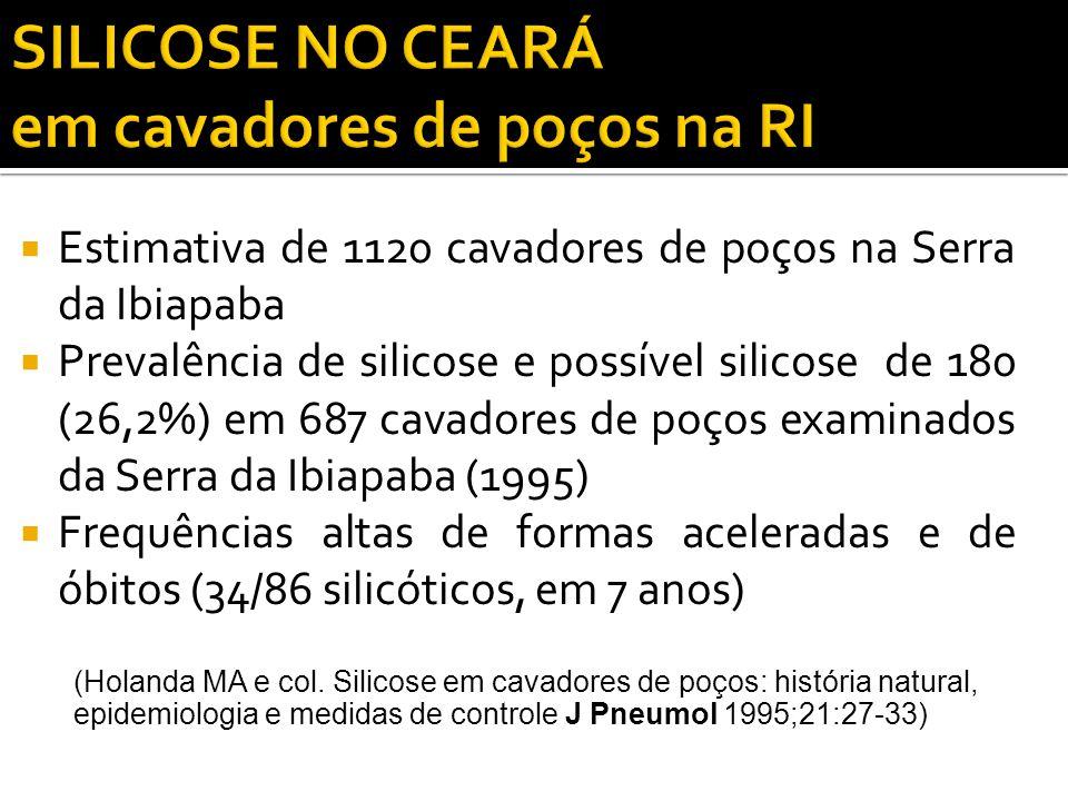  Estimativa de 1120 cavadores de poços na Serra da Ibiapaba  Prevalência de silicose e possível silicose de 180 (26,2%) em 687 cavadores de poços ex