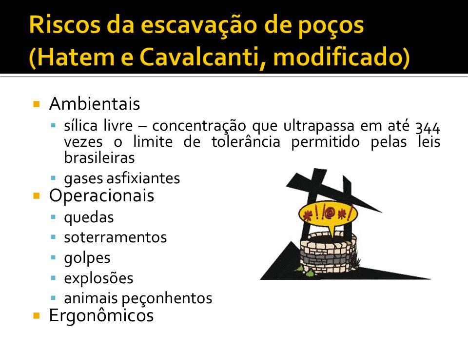  Ambientais  sílica livre – concentração que ultrapassa em até 344 vezes o limite de tolerância permitido pelas leis brasileiras  gases asfixiantes