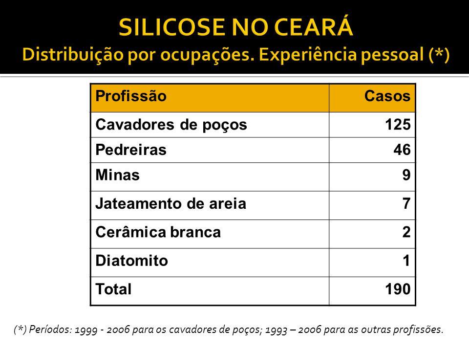 ProfissãoCasos Cavadores de poços125 Pedreiras46 Minas9 Jateamento de areia7 Cerâmica branca2 Diatomito1 Total190 (*) Períodos: 1999 - 2006 para os ca