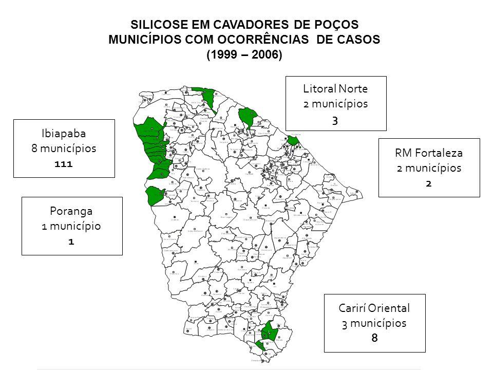SILICOSE EM CAVADORES DE POÇOS MUNICÍPIOS COM OCORRÊNCIAS DE CASOS (1999 – 2006) Ibiapaba 8 municípios 111 Poranga 1 município 1 Carirí Oriental 3 mun