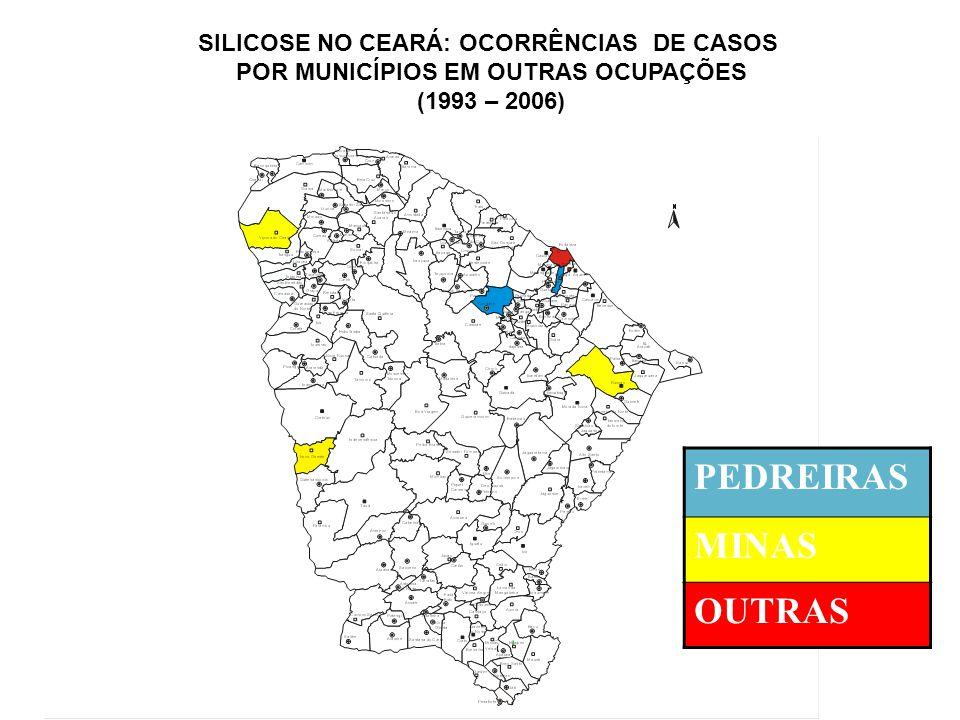 PEDREIRAS MINAS OUTRAS SILICOSE NO CEARÁ: OCORRÊNCIAS DE CASOS POR MUNICÍPIOS EM OUTRAS OCUPAÇÕES (1993 – 2006)