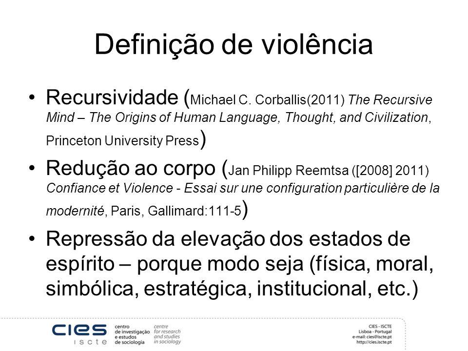 Definição de violência Recursividade ( Michael C. Corballis(2011) The Recursive Mind – The Origins of Human Language, Thought, and Civilization, Princ