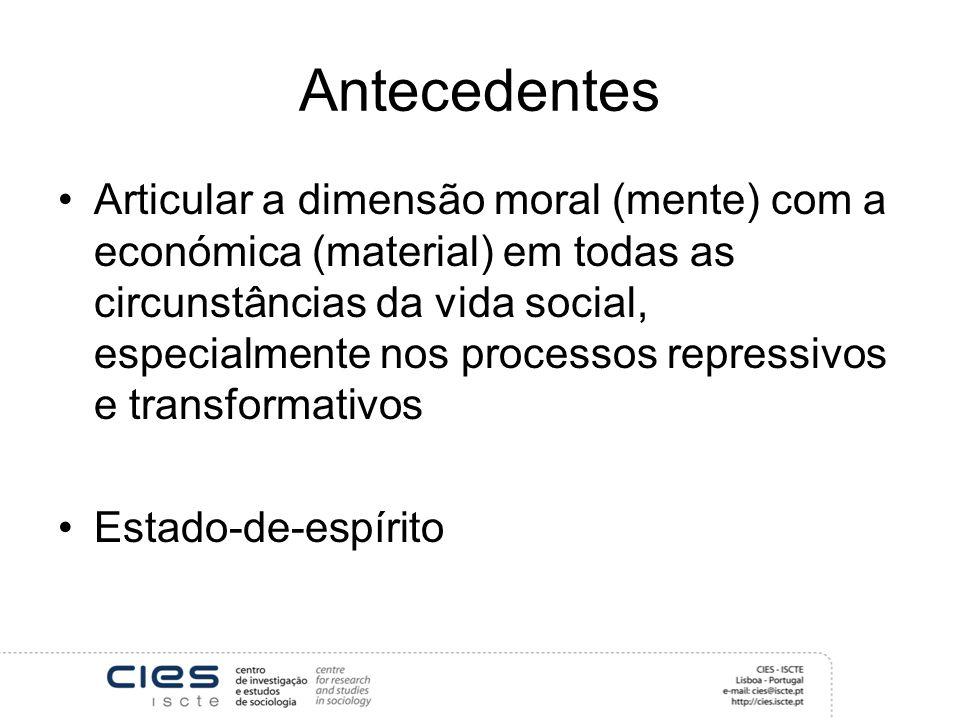 Antecedentes Articular a dimensão moral (mente) com a económica (material) em todas as circunstâncias da vida social, especialmente nos processos repressivos e transformativos Estado-de-espírito